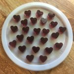 Protein power gummy recipe hearts on a white lid