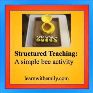 image of 5 toy bees and a hive with the caption, structured teaching: a simple bee activity, learn with emily dot com