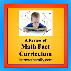 a picture of a boy studying a math book with the caption: a review of math fact curriculum, learn with emily dot com