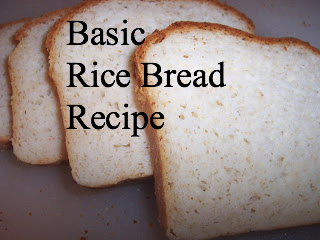 Slices of rice bread with the caption: basic rice bread recipe