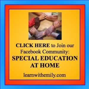photo of a circle formed by 7 hands holding the wrist next to them with the caption, click here to join our Facebook community Special Education at home, learn with emily dot com