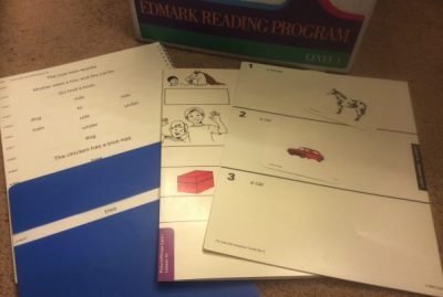 Edmark Level 1, book 2 with cover, picture and phrase matching cards