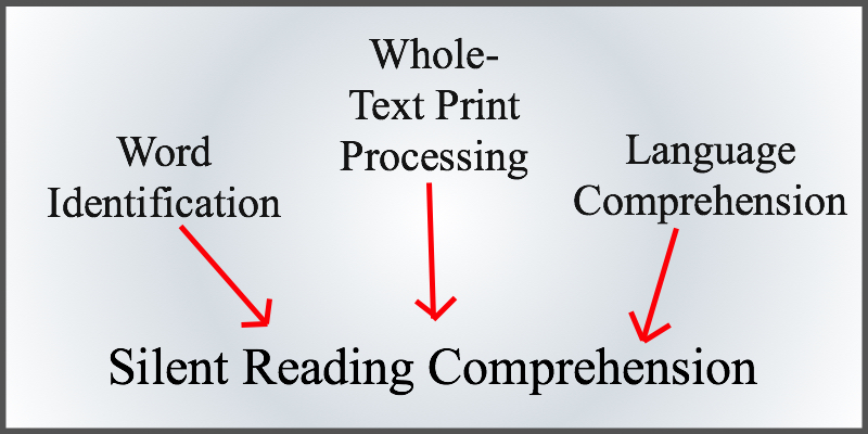 Word identification, whole-test print process, and language comprehension each have an arrow pointing to the phrase, silent reading comprehension