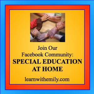 join our Special Education Facebook community with doctor redhair, learn with emily dot com