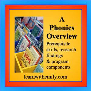 A photo of children's books with the caption, a phonics overview prerequisite skills, research findings, and program components, learn with emily dot com