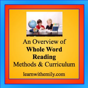 image of two boys reading and the caption, an overview of whole word reading methods and curriculum, learn with emily dot com