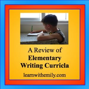 photo of a boy sitting at a table writing with the caption, a review of elementary writing curricula, learn with emily dot com