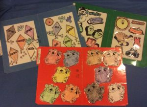 A sample of file folder games including matching colors and matching shapes.