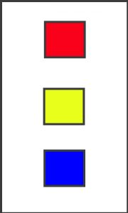 A 3 by 5 card with a red square, a yellow square, and a blue square