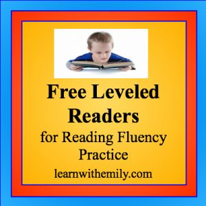 A photo of a boy reading with the caption, free leveled readers for reading fluency practice, learn with emily dot com