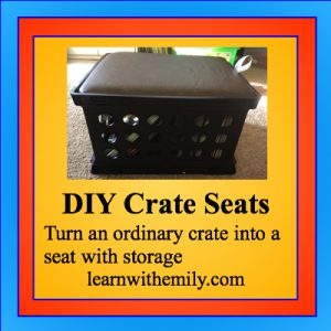DIY crate seats, turn an ordinary crate into a seat with storage, learn with emily dot com