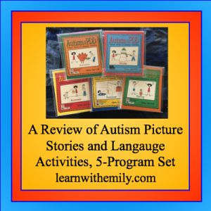 a review of autism picture stories and language activities, 5 program set, learn with emily dot com