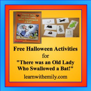 Free halloween activities for there was an old lady who swallowed a bat, learn with emily dot com