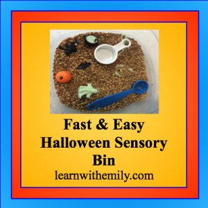fast and easy halloween sensory bin, learn with emily dot com