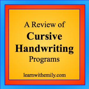 A Review of Cursive Handwriting Programs, learn with emily dot com