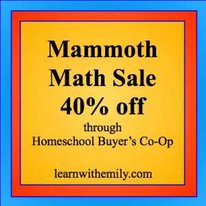 mammoth math sale 40% off through homeschool buyer's co-op, learn with emily dot com