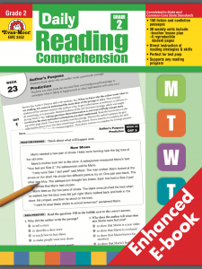 An Overview of Elementary Level Reading Comprehension