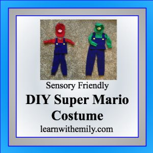 sensory friendly DIY super mario costume, learn with emily dot com
