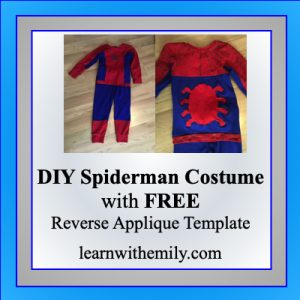 sew a DIY spiderman costume with free reverse appliqué template, learn with emily dot com