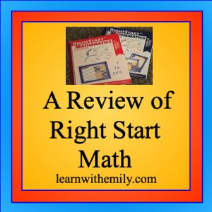 a review of right start math, learn with emily dot com
