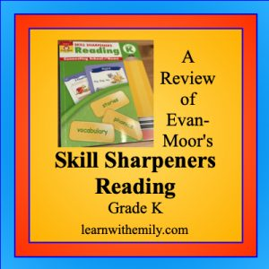 a review of evan-moor's skill sharpeners reading activity book grade k, learn with emily dot com