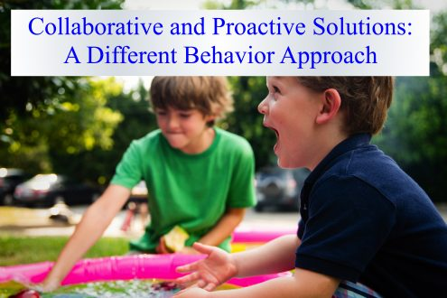 Two children sitting on grass with the caption, collaborative and proaction solutions: a different behavior approach