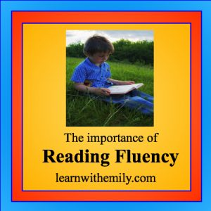 Photo of boy reading with the caption: the importance of reading fluency, learn with emily dot com