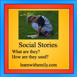 image of a girl reading in the grass with the caption, social stories: what are they? how are they used? learn with emily dot com
