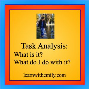 Image of boy in coat walking with the caption, task analysis: what is it? what do I do with it? learn with emily dot com