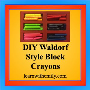 Photo of broken crayons in a rectangular silicone mold with the caption: DIY Waldorf block crayons