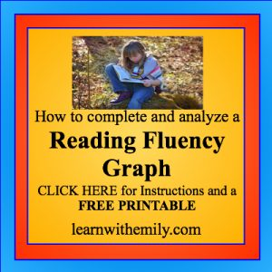 how to complete and analyze a reading fluency graph. click here for instructions and a free printable, learn with emily dot com