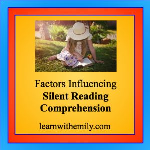 photo of girl in hat sitting on grass reading a book with the caption: factors influencing silent reading comprehension