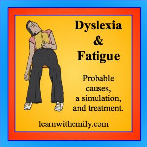 Image of a person sleeping with a book on top of them and the caption, dyslexia and fatigue: probable causes, a simulation, and treatment, learn with emily dot com