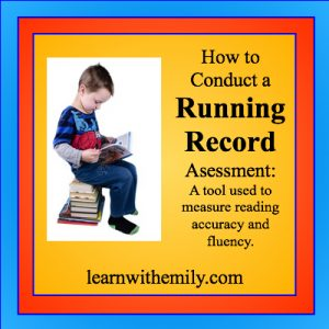 A boy reading while sitting on a pile of books with the caption, how to conduce a running record assessment: a tool used to measure reading accuracy and fluency