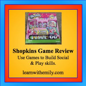 A photo of a shopkins 4 game pack with the caption, Shopkins game review, use games to build social and play skills. Learn with emily dot com