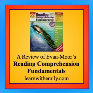 a review of evan-moor's reading comprehension fundamentals, learn with emily dot com