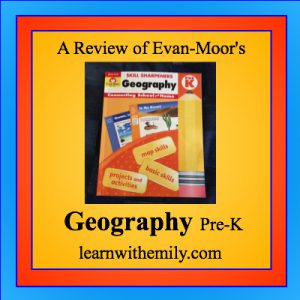 A review of evan-moor's skill sharpeners geography pre-k book, learn with emily dot com