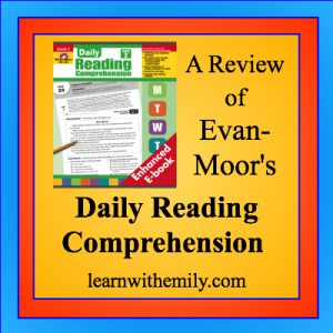 A review of Evan-Moor's daily reading comprehension, learn with emily dot com