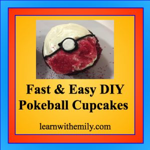 fast and easy diy poke ball cupcakes, learn with emily dot com