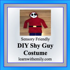 sensory friendly DIY shy guy costume, learn with emily dot com