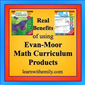 real benefits of using Evan-Moor math curriculum products, learn with emily dot com