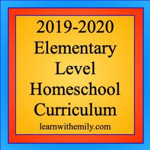 2019-2020 elementary level homeschool curriculum picks, learn with emily dot com